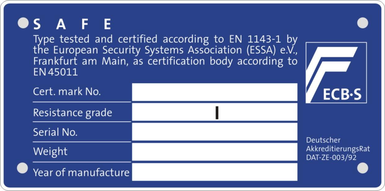 Certificare seif cu clasa de securitate