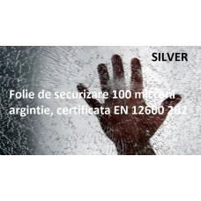 Folie de securizare argintie 100 microni certificata EN 12600